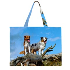 2 Australian Shepherds Large Tote Bag