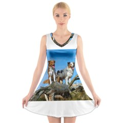 2 Australian Shepherds V-Neck Sleeveless Skater Dress