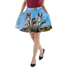 2 Australian Shepherds A-Line Pocket Skirt