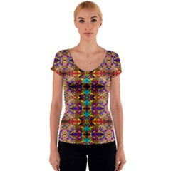 PSYCHIC AUCTION Women s V-Neck Cap Sleeve Top