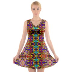 PSYCHIC AUCTION V-Neck Sleeveless Skater Dress