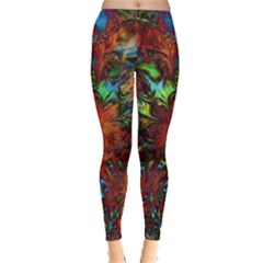 Boho Bohemian Hippie Floral Abstract Leggings
