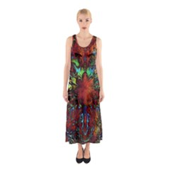 Boho Bohemian Hippie Floral Abstract Sleeveless Maxi Dress