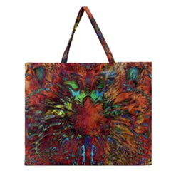 Boho Bohemian Hippie Floral Abstract Zipper Large Tote Bag