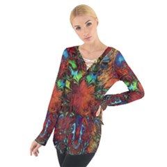 Boho Bohemian Hippie Floral Abstract Women s Tie Up Tee