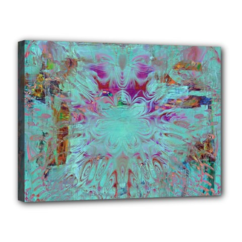 Retro Hippie Abstract Floral Blue Violet Canvas 16  X 12