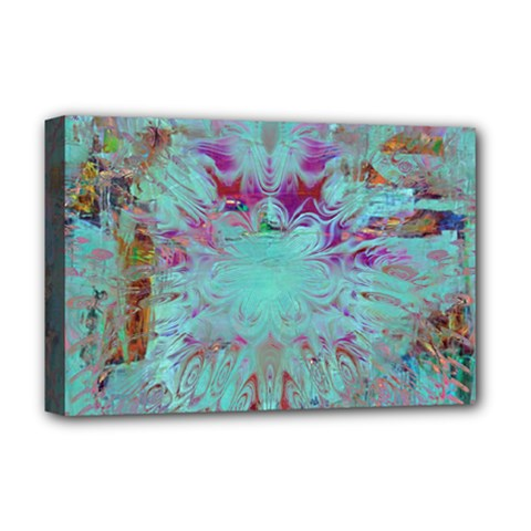 Retro Hippie Abstract Floral Blue Violet Deluxe Canvas 18  X 12