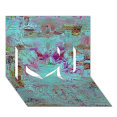 Retro Hippie Abstract Floral Blue Violet I Love You 3D Greeting Card (7x5)