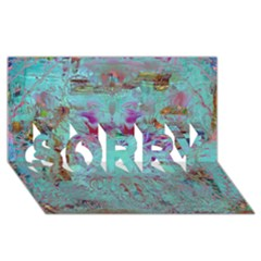 Retro Hippie Abstract Floral Blue Violet SORRY 3D Greeting Card (8x4)