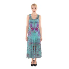 Retro Hippie Abstract Floral Blue Violet Sleeveless Maxi Dress