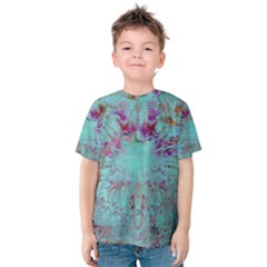 Retro Hippie Abstract Floral Blue Violet Kid s Cotton Tee