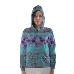 Retro Hippie Abstract Floral Blue Violet Hooded Wind Breaker (Women)