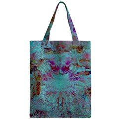 Retro Hippie Abstract Floral Blue Violet Zipper Classic Tote Bag