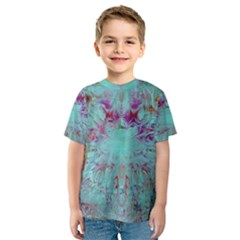 Retro Hippie Abstract Floral Blue Violet Kid s Sport Mesh Tee