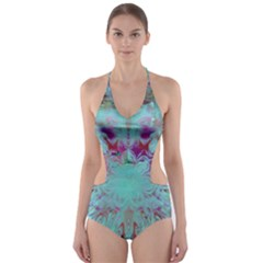 Retro Hippie Abstract Floral Blue Violet Cut-Out One Piece Swimsuit