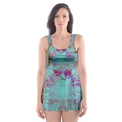 Retro Hippie Abstract Floral Blue Violet Skater Dress Swimsuit
