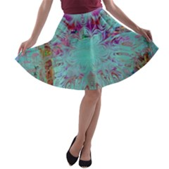 Retro Hippie Abstract Floral Blue Violet A Line Skater Skirt