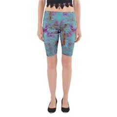 Retro Hippie Abstract Floral Blue Violet Yoga Cropped Leggings