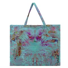 Retro Hippie Abstract Floral Blue Violet Zipper Large Tote Bag