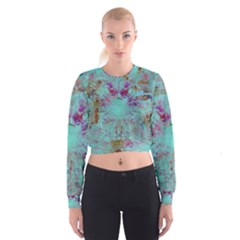 Retro Hippie Abstract Floral Blue Violet Women s Cropped Sweatshirt