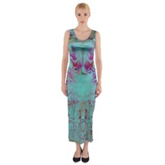 Retro Hippie Abstract Floral Blue Violet Fitted Maxi Dress