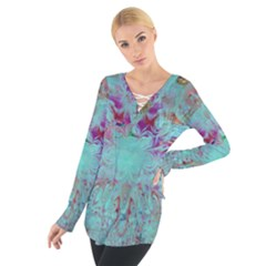 Retro Hippie Abstract Floral Blue Violet Women s Tie Up Tee