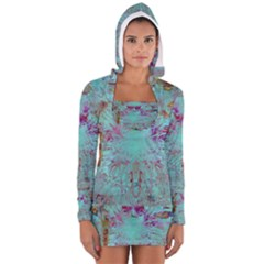 Retro Hippie Abstract Floral Blue Violet Women s Long Sleeve Hooded T Shirt