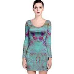 Retro Hippie Abstract Floral Blue Violet Long Sleeve Velvet Bodycon Dress