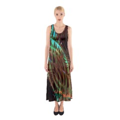 Metallic Abstract Copper Patina  Sleeveless Maxi Dress