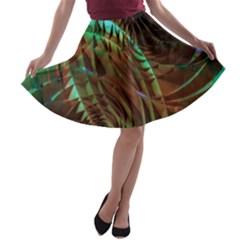 Metallic Abstract Copper Patina  A Line Skater Skirt