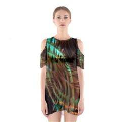 Metallic Abstract Copper Patina  Cutout Shoulder Dress