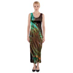 Metallic Abstract Copper Patina  Fitted Maxi Dress