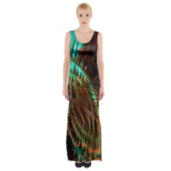 Metallic Abstract Copper Patina  Maxi Thigh Split Dress