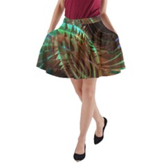 Metallic Abstract Copper Patina  A-Line Pocket Skirt