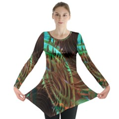 Metallic Abstract Copper Patina  Long Sleeve Tunic