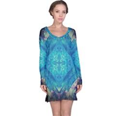 Boho Hippie Tie Dye Retro Seventies Blue Violet Long Sleeve Nightdress