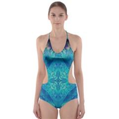 Boho Hippie Tie Dye Retro Seventies Blue Violet Cut-Out One Piece Swimsuit