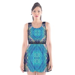 Boho Hippie Tie Dye Retro Seventies Blue Violet Scoop Neck Skater Dress