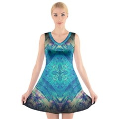 Boho Hippie Tie Dye Retro Seventies Blue Violet V-Neck Sleeveless Skater Dress
