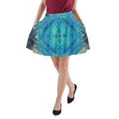 Boho Hippie Tie Dye Retro Seventies Blue Violet A Line Pocket Skirt