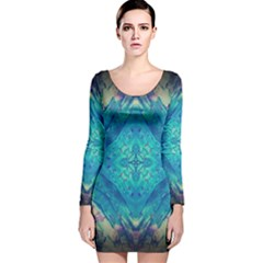 Boho Hippie Tie Dye Retro Seventies Blue Violet Long Sleeve Velvet Bodycon Dress