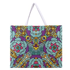 Mariager - Bold blue,purple and yellow flower design Zipper Large Tote Bag
