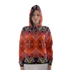 Boho Bohemian Hippie Floral Abstract Faded  Hooded Wind Breaker (Women)