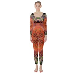 Boho Bohemian Hippie Floral Abstract Faded  Long Sleeve Catsuit