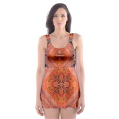 Boho Bohemian Hippie Floral Abstract Faded  Skater Dress Swimsuit