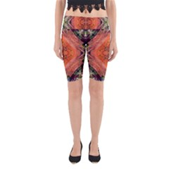 Boho Bohemian Hippie Floral Abstract Faded  Yoga Cropped Leggings