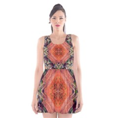 Boho Bohemian Hippie Floral Abstract Faded  Scoop Neck Skater Dress