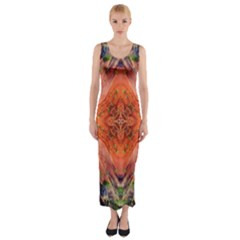 Boho Bohemian Hippie Floral Abstract Faded  Fitted Maxi Dress