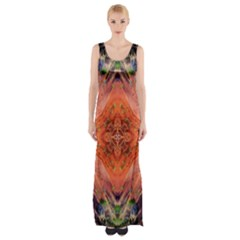 Boho Bohemian Hippie Floral Abstract Faded  Maxi Thigh Split Dress
