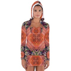 Boho Bohemian Hippie Floral Abstract Faded  Women s Long Sleeve Hooded T-shirt